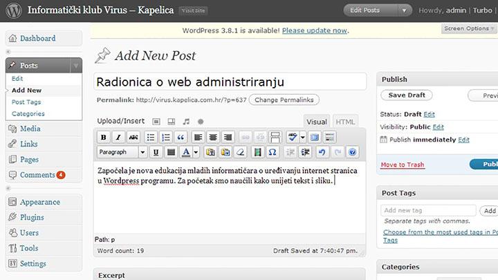Radionica o web administriranju